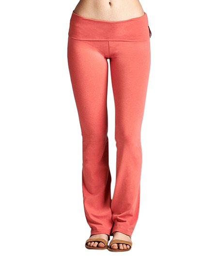 adc53db1a46af5 Active USA Dark Rose Fold-Over Yoga Pants - Women | Zulily