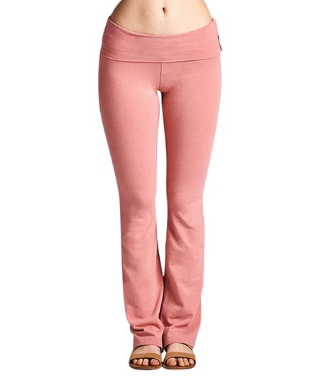 7d75de01d979c3 Active USA Dusty Pink Fold-Over Yoga Pants - Women   Zulily
