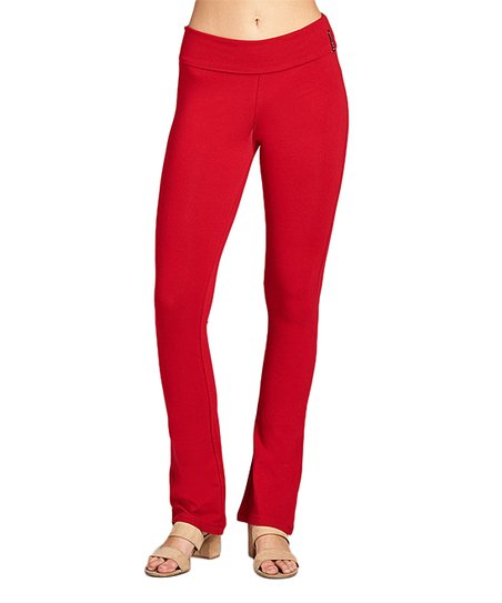 f3de899242eea6 Active USA Dark Red Fold-Over Yoga Pants - Women | Zulily