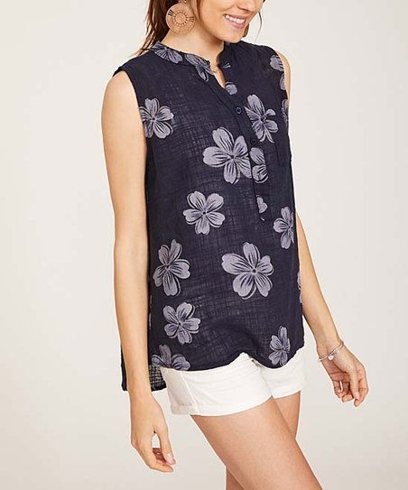 ea06189f2af love this product Navy Floral Sleeveless Button-Front Top - Women & Plus