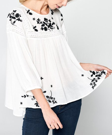 38eb1fc6c76893 Simply Boho LA White & Black Embroidered Peasant Top - Women | Zulily