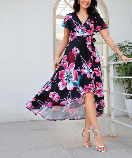 969595db4c love this product Black & Fuchsia Floral Wrap Midi Dress - Women & Plus