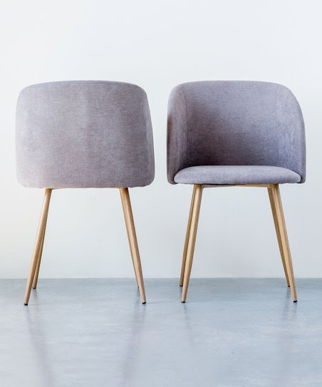 Gray Wood Grain Print Accent Chair   Set Of Two
