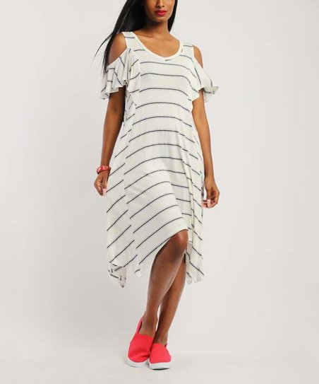 88aa50ee256 love this product White Stripe Cutout Ruffle-Sleeve Handkerchief Dress -  Women