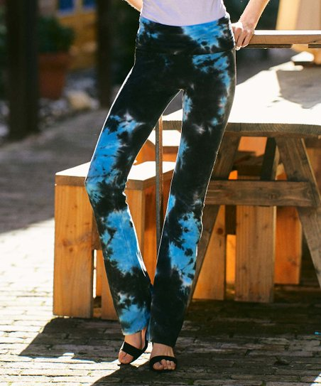 984179aec87c3 love this product Teal & Charcoal Tie-Dye Yoga Pants - Women
