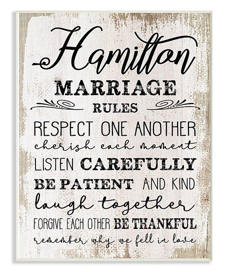 9ebb092617e295 love this product White & Black 'Marriage Rules' Personalized Wall Plaque