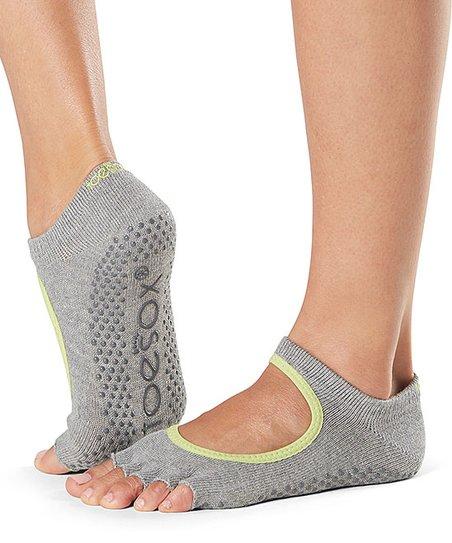 ToeSox Heather Gray & Lime Half-Toe Bella Grip Socks - Women
