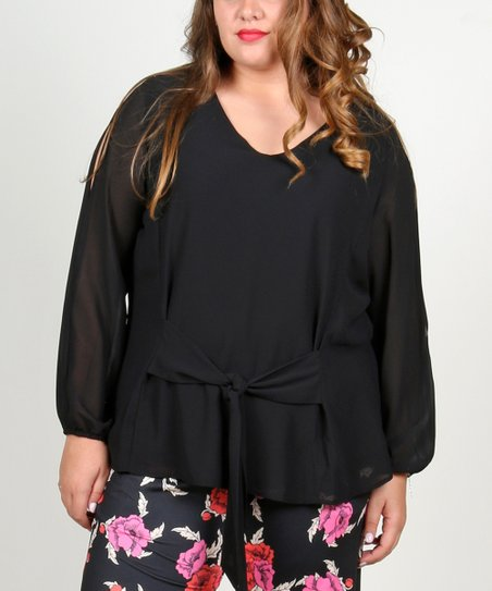 4e3bf51dbae More Than Angels Black Tie-Front V-Neck Top - Women & Plus | Zulily