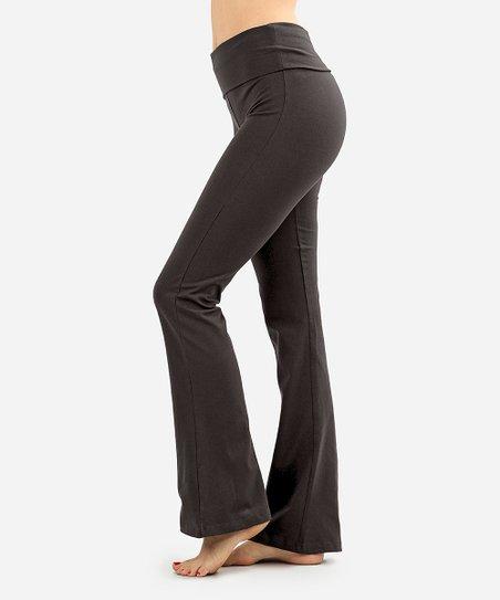57e42177cf98fd SBS Fashion Ash Gray Fold-Over Yoga Pants - Women | Zulily