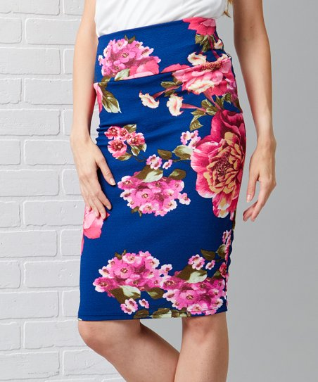 ed35d0def2 love this product Navy & Pink Floral Tummy Control Pencil Skirt - Women &  Plus