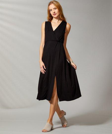 9aab583078ae Bella Floré Black Sleeveless Empire-Waist Surplice Dress - Plus | Zulily