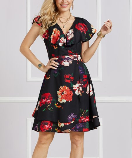 f640ddd439a2 love this product Black & Red Floral Ruffle-Collar Surplice Dress - Women &  Plus