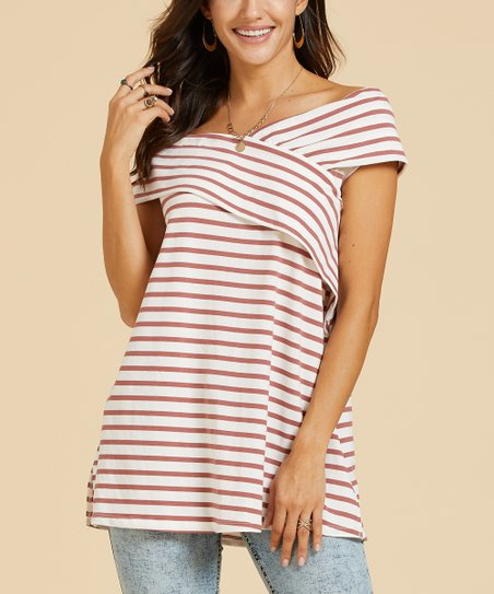 7657305611fb9f love this product White & Coral Stripe Crisscross-Front Off-Shoulder Tunic  - Women & Plus