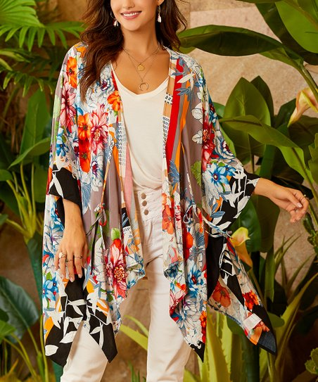 d1750865ab640 love this product Ivory Floral Side-Slit Open-Front Kimono - Women & Plus
