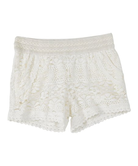 Love Alexa Ivory Crochet Lace Shorts Girls Zulily