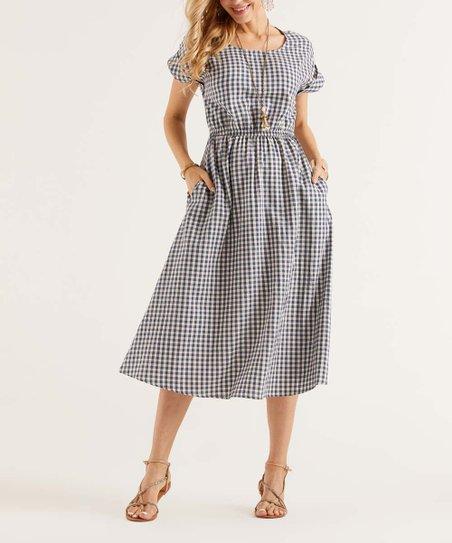 Suzanne Betro Dresses Navy & White Gingham Cuff-Sleeve Pocket Midi Dress -  Women & Plus
