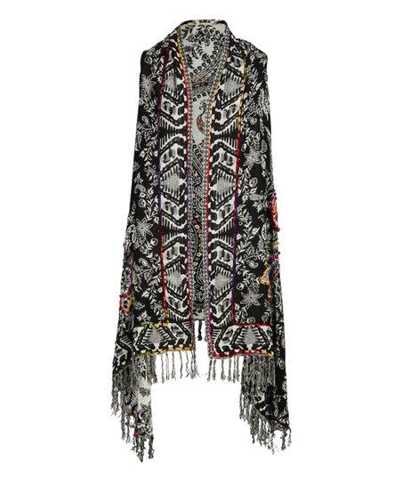 3ab43d42d Raj Imports Black & White Abstract Lola Reversible Kimono Vest ...