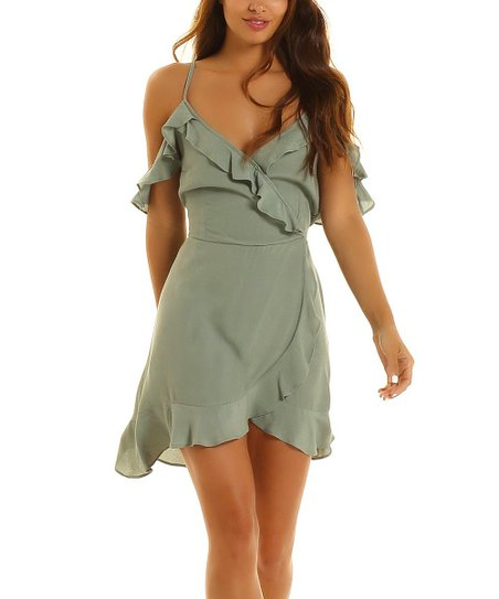 49cad18c380 Lucy Love Sage Ruffle Love Potion Wrap Dress - Juniors