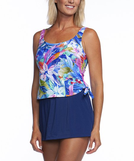 17eadb0daa love this product Pink & Blue Potpourri Contrast Swimdress - Women