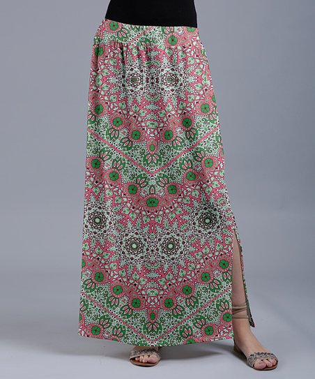 store detailed look popular design Lily Pink & Green Abstract Floral Maxi Skirt - Women & Plus