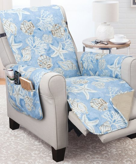 Fine Couch Guard Blue Tan Key Largo Reversible Recliner Protector Gmtry Best Dining Table And Chair Ideas Images Gmtryco