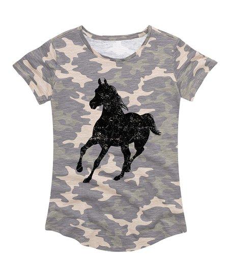 2b12a56074 Instant Message Women's Green Camo Running Horse Crewneck Tee - Women