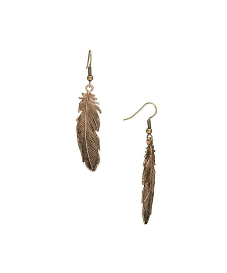 6bf05e0b9a1fe Don't AsK Goldtone Feather Drop Earrings