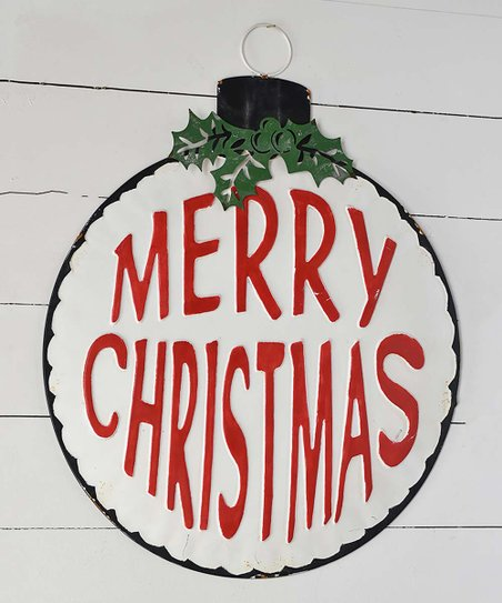 Merry Christmas Ornament Sign.Red White Merry Christmas Ornament Wall Sign