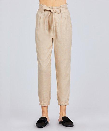 4272b63f8e SBS Fashion Khaki Crop Linen-Blend Paper Bag Pants - Women | Zulily