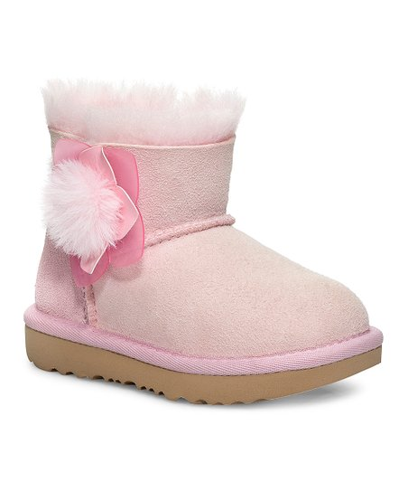 716c0334420026 love this product Seashell Pink Mini Bailey II Cactus Flower Suede Boot -  Girls