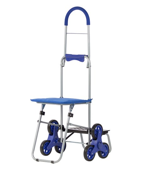 Smart Cart Blue Mighty Max Stair Climber & Seat Folding Dolly
