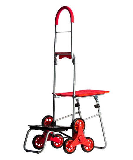 Smart Cart Red Mighty Max Stair Climber & Seat Folding Dolly