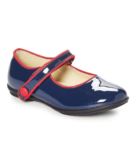 0ce58886 Easy Strider Navy & Red Glitter Leather Mary Jane - Girls | Zulily