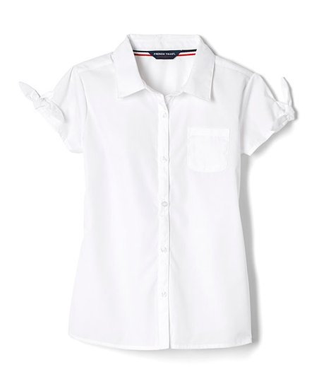French Toast White Bow Accent Short Sleeve Button Up Girls Zulily