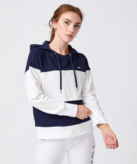 70860282c0bd7 Tommy Hilfiger Navy Color Block French Terry Hoodie - Women | Zulily