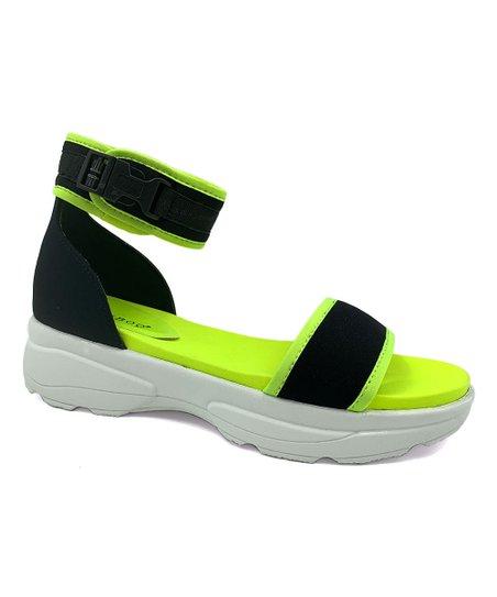 Black Ankle-Strap Catch Sandal - Women