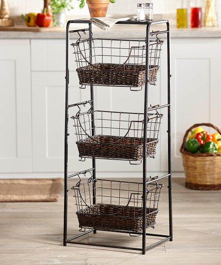 Mesa Black Stackable Market Basket Stand Set