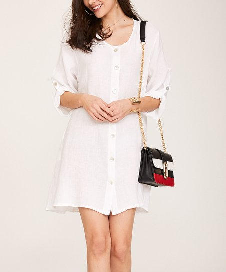 1ed1f3fd8e love this product White Button-Up Linen Shift Dress - Women   Plus
