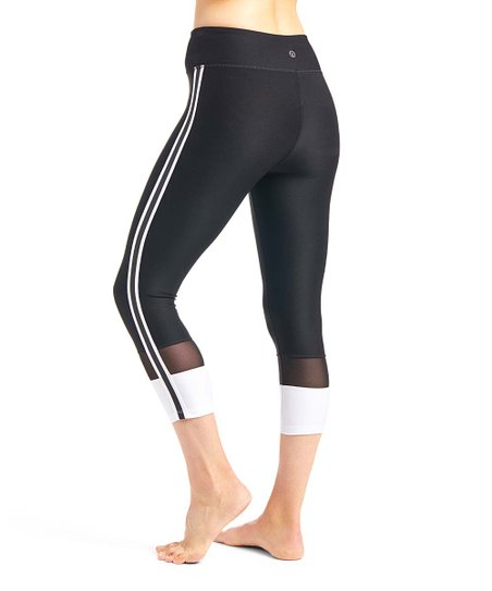 dd3c8f3abdfbef VOGO Black & White Side-Stripe Power Mesh Capri Leggings - Women ...