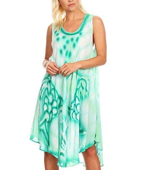 6c00bac14a4e love this product Sea Green Tie-Dye Pointed-Hem Sleeveless Dress - Women