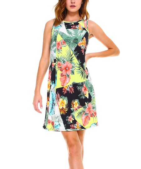 e288fa9027d4 love this product Black & Gold Floral Sleeveless Fit & Flare Dress - Women  & Plus