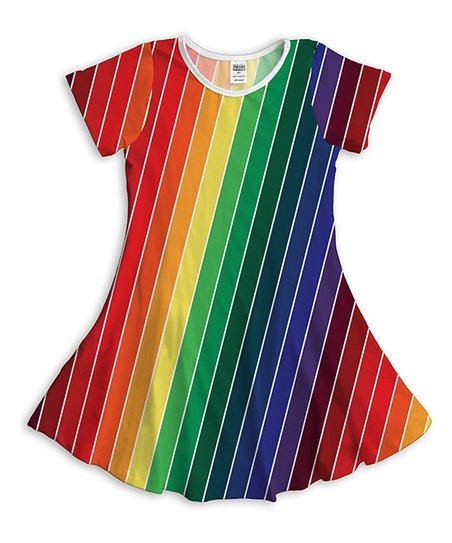 024d7ca7b1f1 love this product Red & Yellow Vertical Rainbow Stripe T-Shirt Dress - Girls