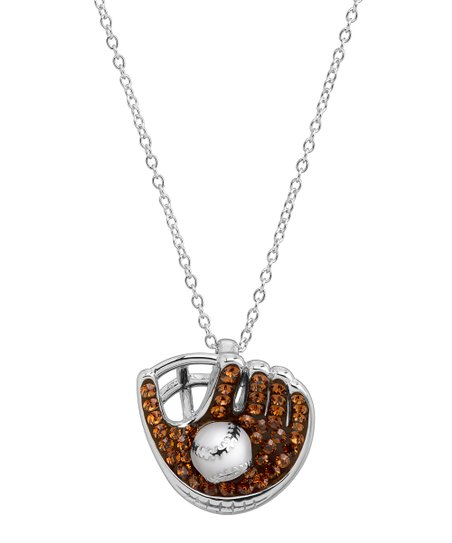 97e297a14f76c Crystaluxe Brown & Sterling Silver Baseball & Glove Pendant Necklace With  Swarovski® Crystals