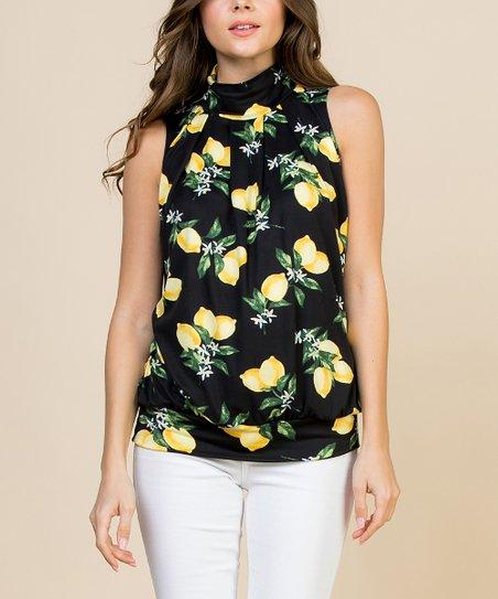 78a6747d196a Riah Fashion Black Lemon Mock Neck Pleated Sleeveless Top | Zulily