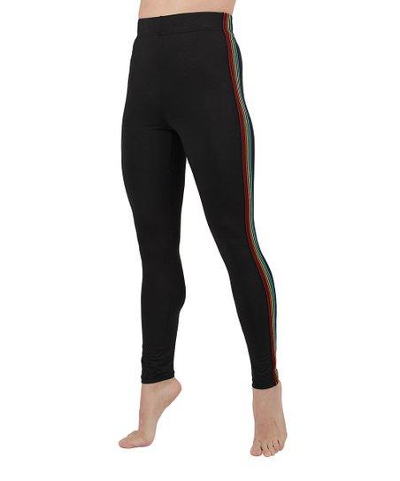 104f797cf3280 MeMoi Black Rainbow Stripe Leggings - Women | Zulily