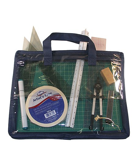 Alvin Company Blue Clear Zip Up Art Supplies Bag