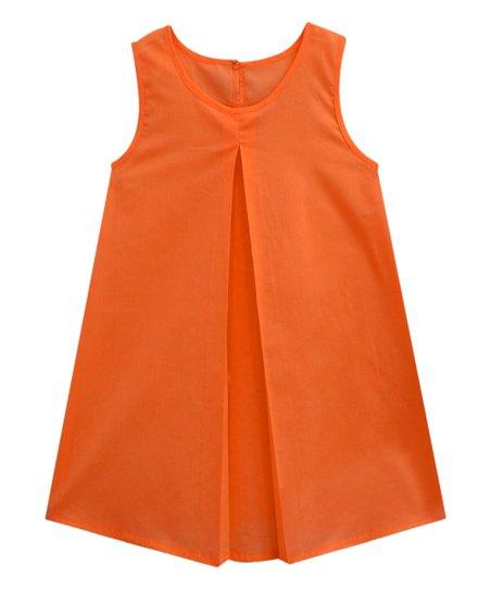 5303d177 love this product Orange Sleeveless Pleated Swing Top - Women & Plus