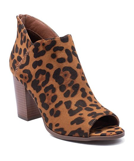 Refresh Leopard Open-Toe Sharpay Bootie