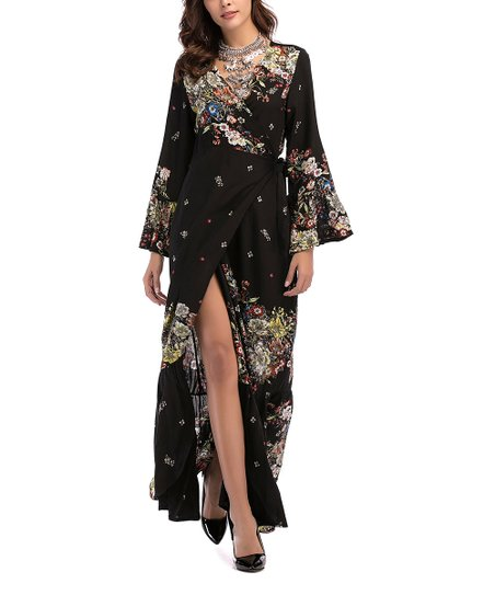 537edbed0269e love this product Black & White Floral Bell-Sleeve Wrap Maxi Dress - Women  & Plus