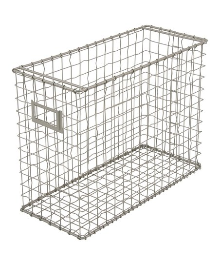 Storage Studios Silvertone Hanging Wire Barred File Basket Organizer